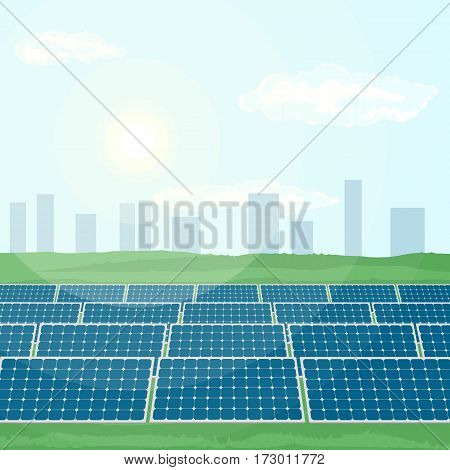 Many solar panels installed near city produce green energy from sun. Flat vector illustration of the production of clean renewable energy.