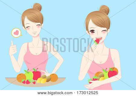 beauty casul woman and fruit with blue background