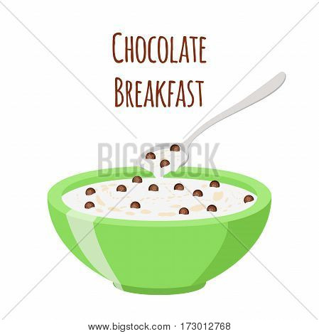 Cereal chocolate balls. Milk in oatmeal breakfast. Organic muesli. Flat vector style.