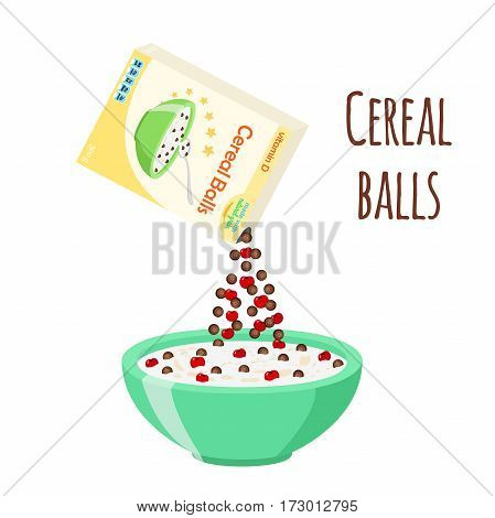 Cereal chocolate balls with cherry. Milk in oatmeal breakfast. Organic muesli. Flat vector style.