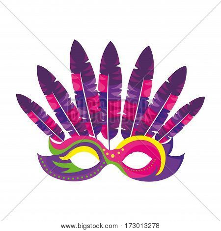 Venetian carnival mask with feathers vector illustration