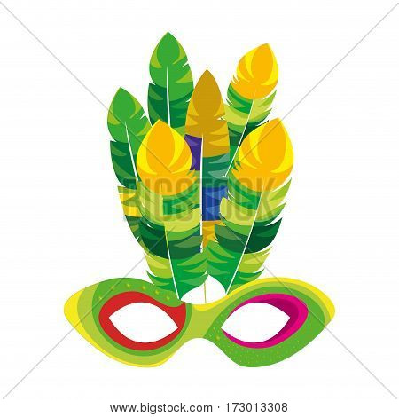 mardi gras mask with feathers vector illustration