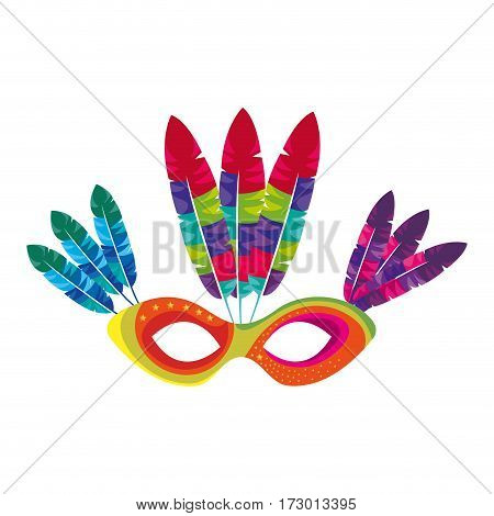 mask with feathers brazil culture vector illustration