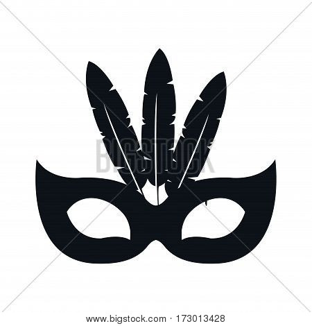 black silhouette festive carnival mask icon design vector illustration