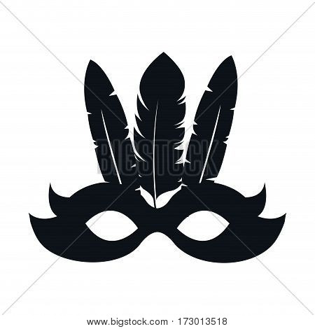 black silhouette festival mask with feathers vector illustration