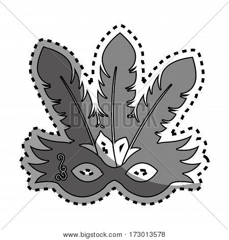 sticker gray silhouette festival party mask with feathers vector illustration