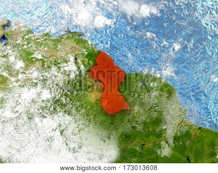 Guyana On Map With Clouds