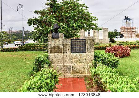 Havana, Cuba - Jan 7, 2017: Monument to Fermin Valdes Dominguez in Havana Cuba. He was a doctor and a Cuban patriot.