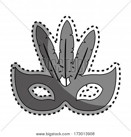 sticker gray silhouette festive carnival mask icon design vector illustration