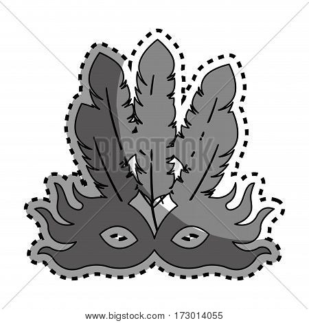 sticker gray silhouette carnival of teather mask with feathers vector illustration