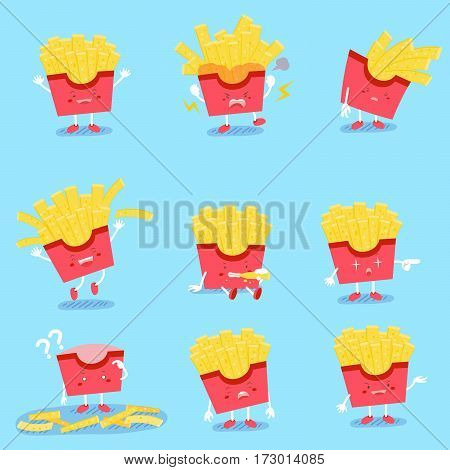 cute cartoon fries do different emotions with blue background