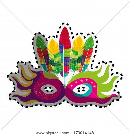 sticker mask feather carnival festival circus fair celebration vector illustration