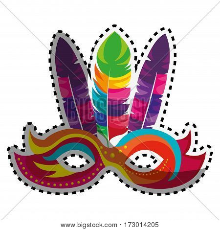 sticker colorful festival mask with feathers vector illustration