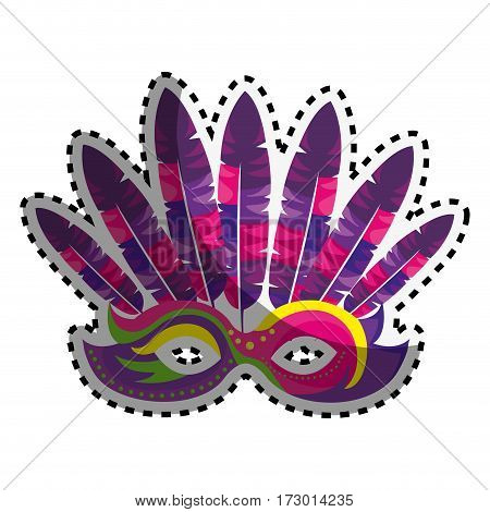 sticker colored venetian carnival mask with feathers vector illustration