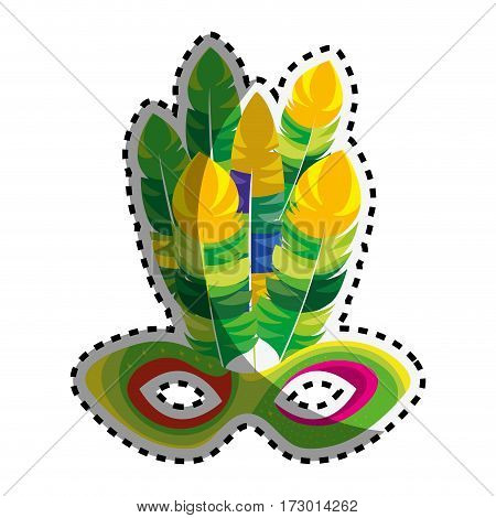 sticker multicolored mardi gras mask with feathers vector illustration