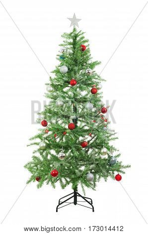 Artificial Christmas Tree with snow and colorful balls isolated on white background