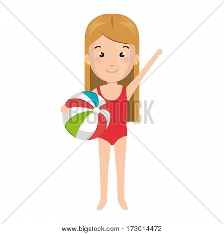 cartoon blond girl with summer swimsuit and ball vector illustration