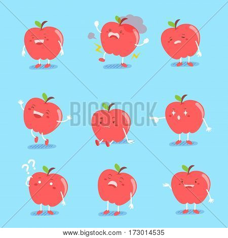 cute cartoon apple do different emotions with blue background