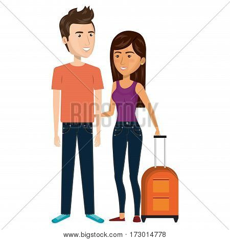 cartoon couple with woman brunette and man with travel luggage vector illustration