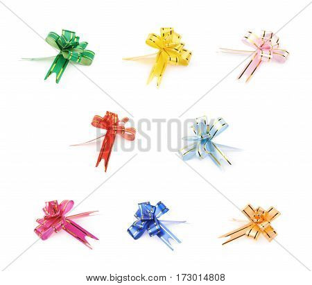 Single foldable tape bow isolated over the white background, set of multiple different color variations