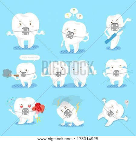 cute cartoon tooth do different emotions with blue background