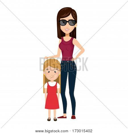cartoon woman with blond girl with cute dress vector illustration