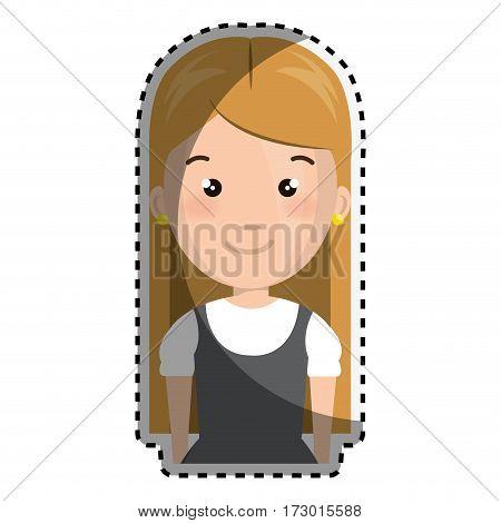 sticker half body cartoon blond girl with cute dress vector illustration