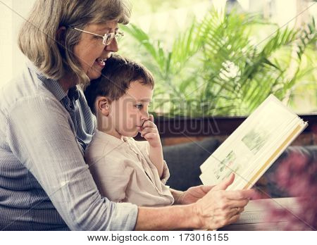 Grandmother Grandson Family Reading Leisure