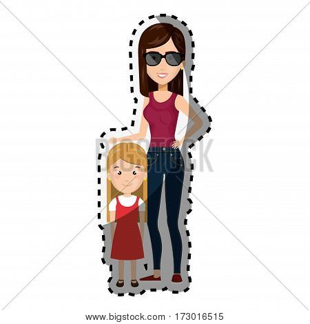 sticker cartoon woman with blond girl with cute dress vector illustration