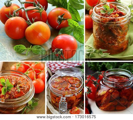 collage, set  sun dried tomatoes in glass jar