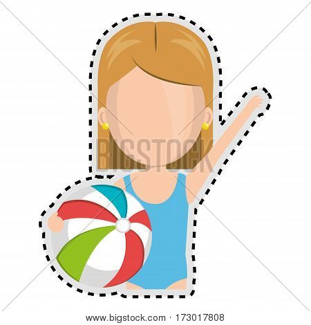 sticker half body faceless cartoon blond girl with summer swimsuit and ball vector illustration