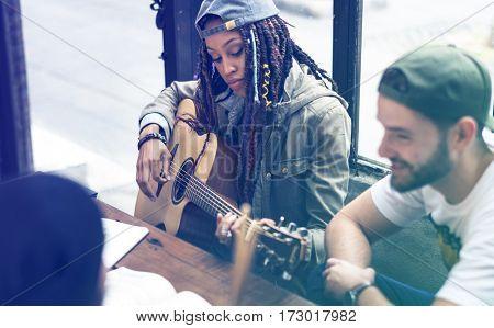 Woman Play Guitar Music Rehearsal