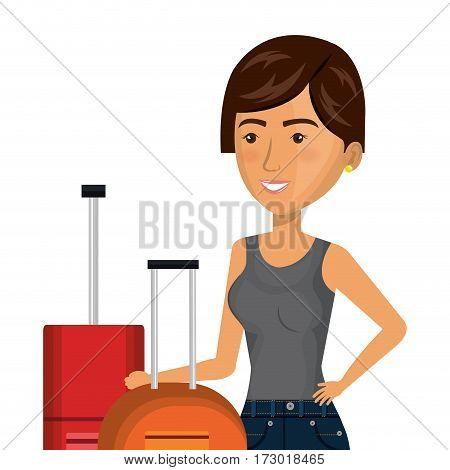 half body cartoon short hair woman with pair travel briefcases vector illustration