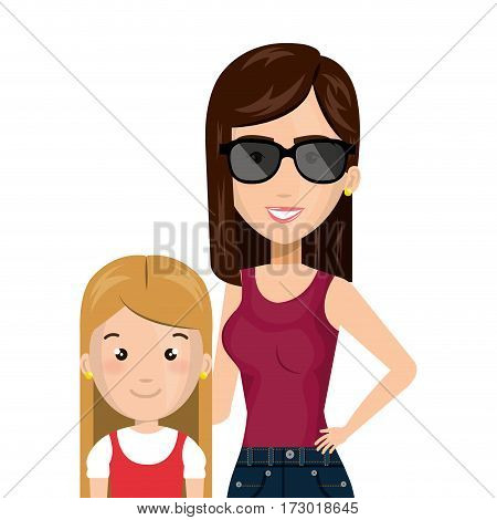 half body cartoon woman with blond girl with cute dress vector illustration