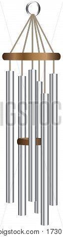Metal wind chime tube for decorating a garden plot.