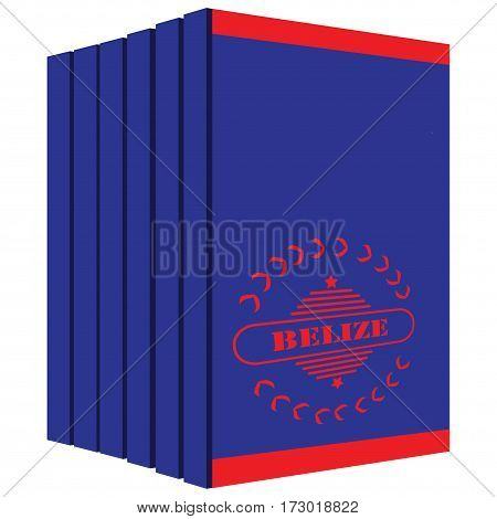 Set of books about Belize stylized cover under the state flag of the country.