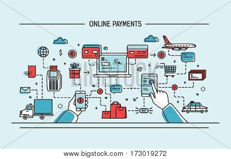 Online payments, money transfer, financial transaction. Line art flat vector illustration.
