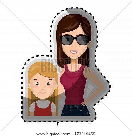 sticker half body cartoon woman with blond girl with cute dress vector illustration