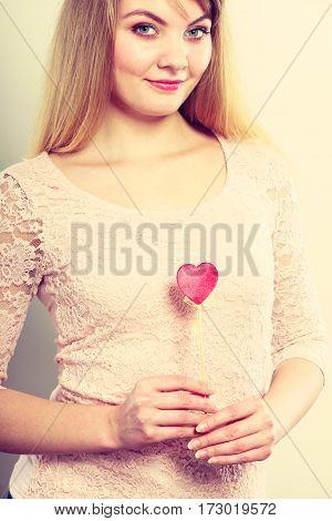 Blonde Lovely Girl With Heart.