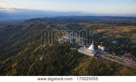aerial view of wat phasornkaew khao koh petchabun northern of thailand