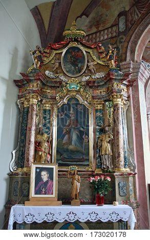 KAMENSKO, CROATIA - SEPTEMBER 23: Altar in parish Church of Our Lady of snow in Kamensko, Croatia on September 23, 2013