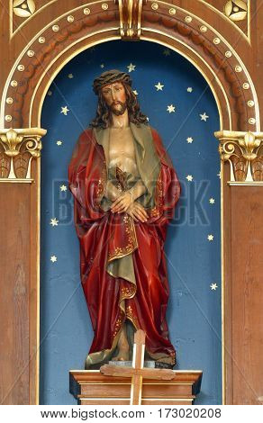 SCITARJEVO, CROATIA - AUGUST 23: Bounded Jesus statue in the Parish Church of Saint Martin in Scitarjevo, Croatia on August 23, 2011.