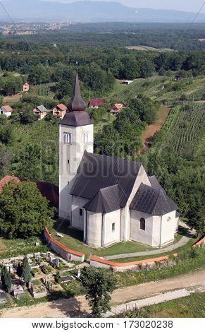 PISAROVINSKA JAMNICA, CROATIA - JULY 14: Parish Church of Saint Martin in Pisarovinska Jamnica, Croatia on July 14, 2007.