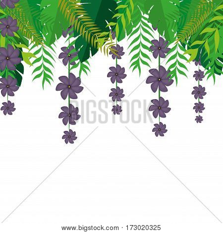 superior frame with holding violet flowers and green leaves nature design vector illustration