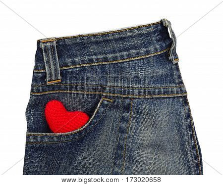 Blue jeans back pocket with red crochet heart - valentine and love concept