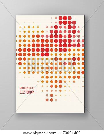 Halftones Banner. Orange color Brochure. Distress Dirty Damaged Spotted Circles Overlay Dots Texture . Grunge Effect .