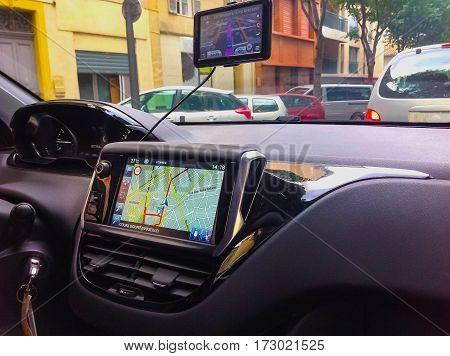 Marseille, France - September 08, 2015: The Navigation system in the car at Marseille, France on September 08, 2015