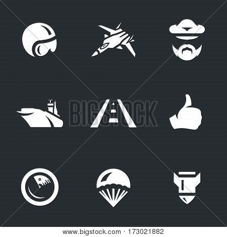 Pilot helmet, fighter, captain, ship, runway, approval, radar, parachute, bomb.