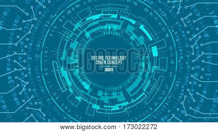 Abstract Futuristic Technological Background Vector. Hi Speed Digital Design. Security Network