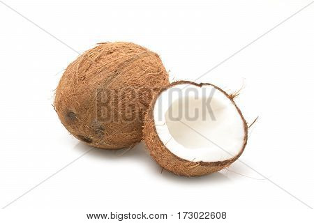 fresh Coconut fruit on a white background